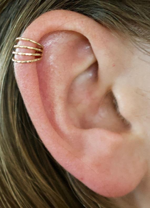 Pierced Ear Cuff Four Wire Ear Cuff Helix Piercing Etsy