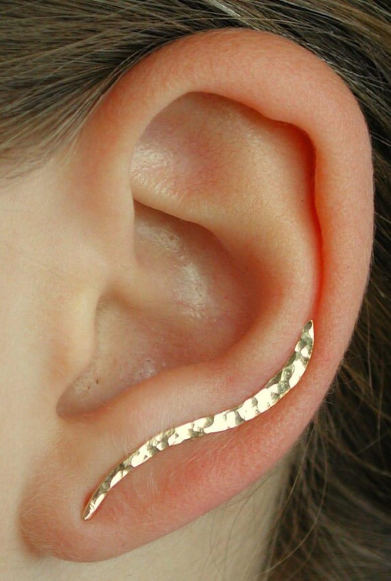 Ear Climber  Hammered Ear Climber  Minimalist Ear Climber  image 1
