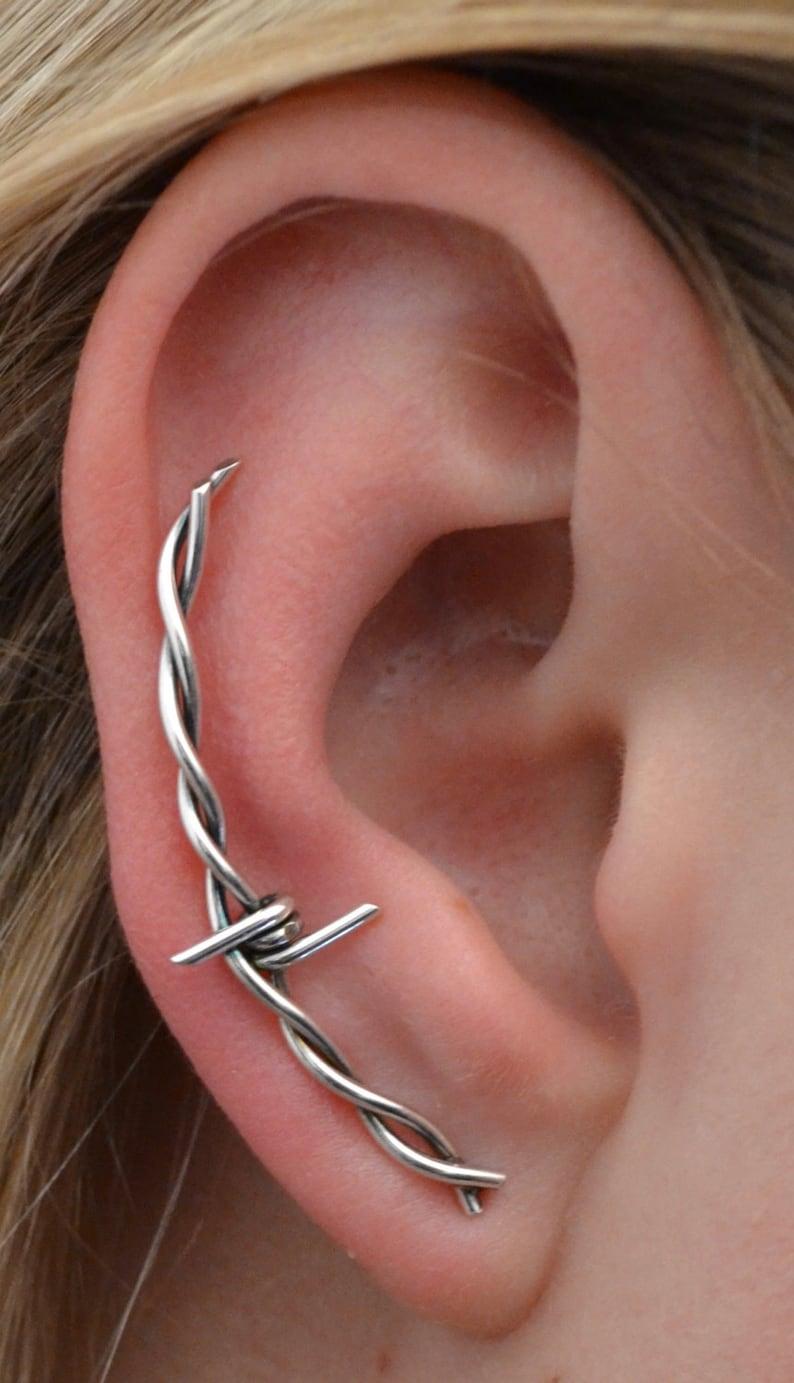 c543cedb8 Barbed Wire Ear Climber Ear Cuff Earring Pin Ear | Etsy
