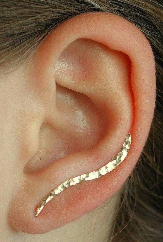 Hand Hammered- Ear Climber - Silver, Gold, Rose - Ear Wrap - Ear Crawler - Ear Cuff - Up the Ear - Silver Ear Climber - Gold Ear Climber