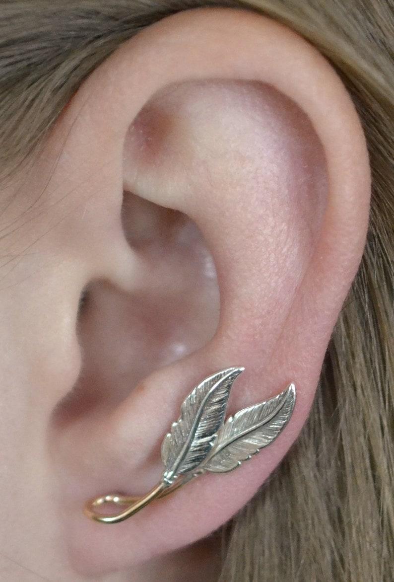74f372785 Feather Ear Climber Ear Cuff Ear Climbers Ear Crawler | Etsy