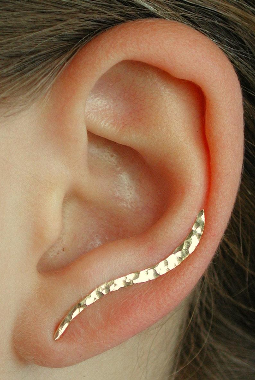 Rose Ear Climber Earring Ear Pin Earcuff Ear Cuff Hand Hammered Ear Climber Ear Climber Silver Ear Climber Gold Ear Cuff
