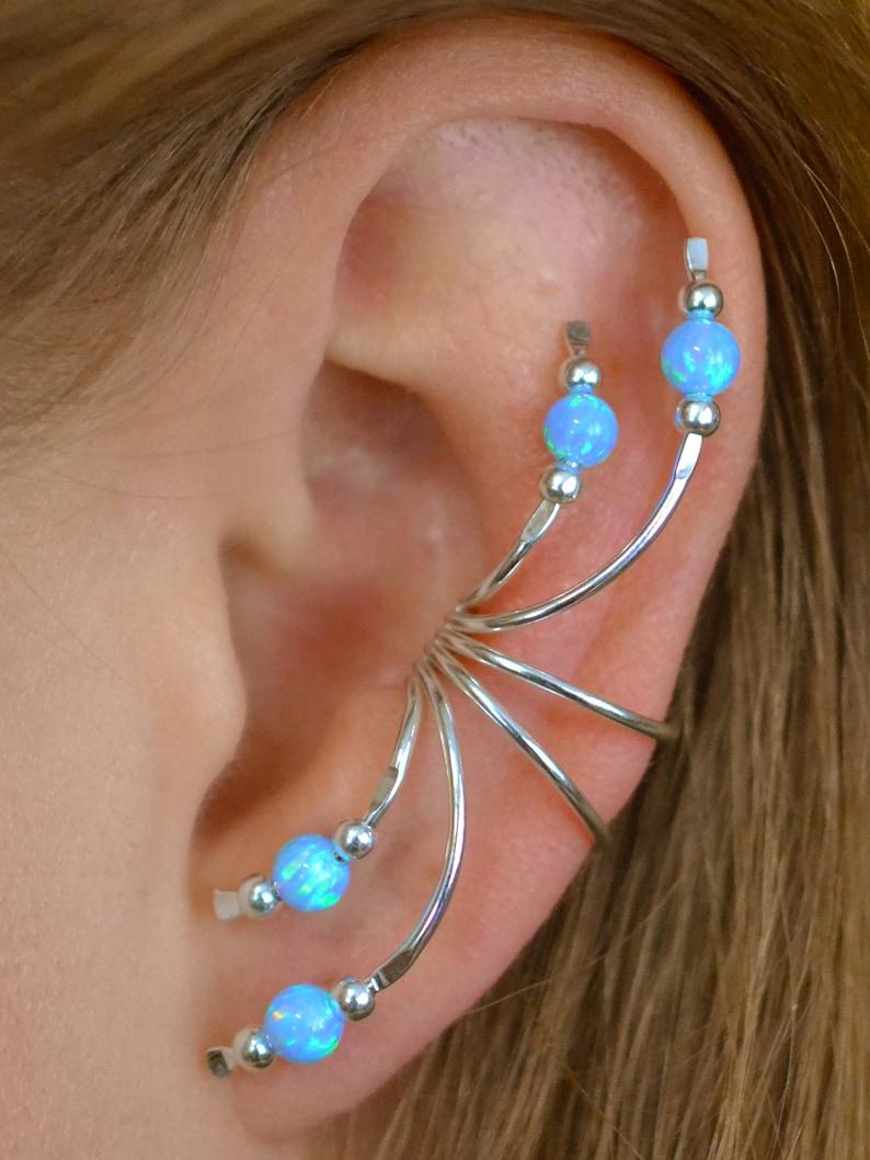 Ear Crawler earcuff -Non Pierced opal ear Climber Ear Climber Ear Wrap gold ear wrap Ear Cuff Blue Opal gold ear climber