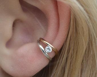 CZ - Ear Cuff - Ear Cuffs - Ear Wraps - Diamond Ear Cuff - Diamond Ear Wraps - Minimalist Ear Cuff - Dainty Ear Cuff -  Gold Ear Cuff