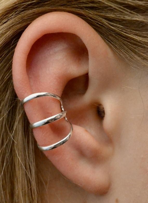 Gold Ear Cuff Sterling Silver Ear Cartilage Clip 14k Gold Vermeil No Piercing Double Ear Clip Ear Clip Double Ear Cuff CZ Diamond