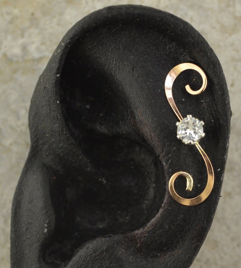CZ on Swirling Wire SINGLE or PAIR Earring Ear Pin Climber Gold Filled and Sterling Silver
