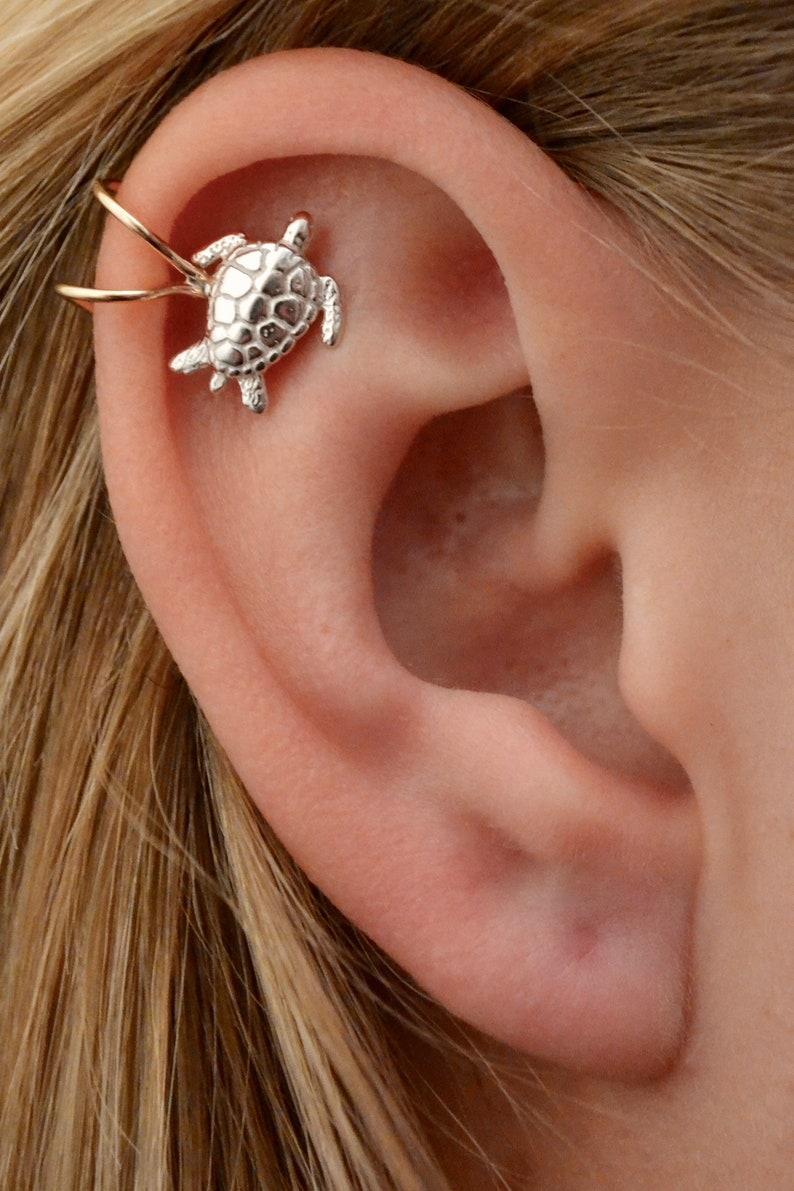 Sea Turtle Cartilage Earring Cuff   Non Pierced  Helix Ear image 0