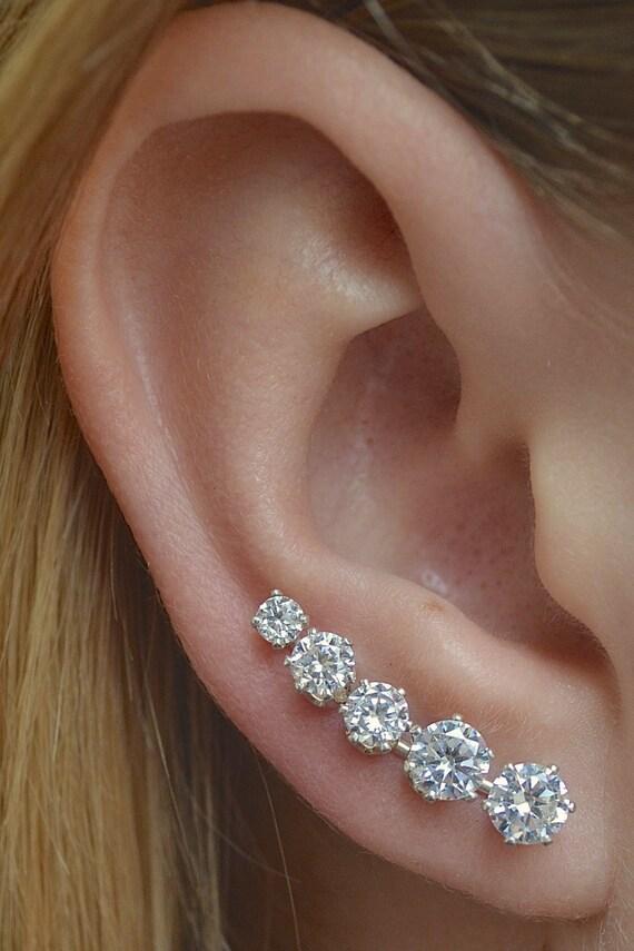 Silver Earrings Silver Ear Climber Earrings Ear Cuff Graduation gift Ear Climber Crystal Ear Climbers Wedding earrings Silver Studs