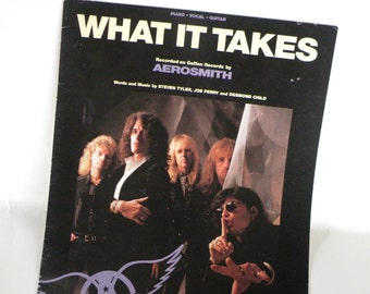 AEROSMITH Sheet Music Piano Vocal Guitar- 9 Pages- 1989 Rock and Roll Music