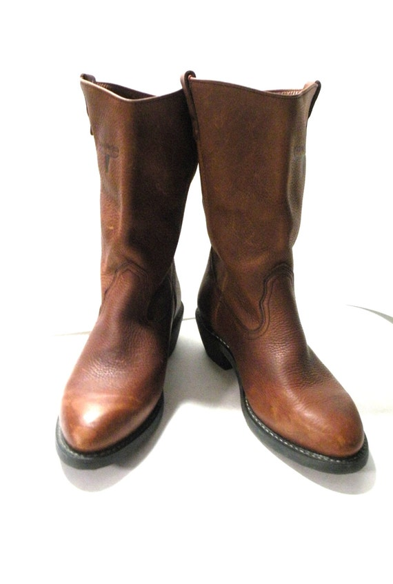 Vintage Men's Mason Western Work Boot Brown Soft Leather ...