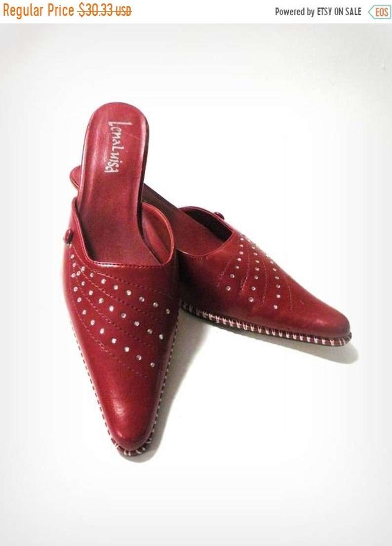 009cc17b8ef09 35% Off Summer Sale -7 NARROW Red Slip on Pointed Toe Flats- Rhinestones-  Crystals White Stitching