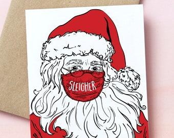 018821 : Christmas card, Christmas, Holiday, Greetings, Season Greetings, Santa, masks, covid, covid christmas, corona, Santa in mask,