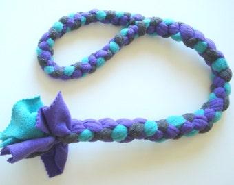 Dog Tug Toy - Large - Strong, Fleece, Safe, Fun, Turqoise Purple, Rescue