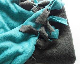 Cozy Fleece Dog Blanket - MEDIUM 35 x 55, Grey and Teal
