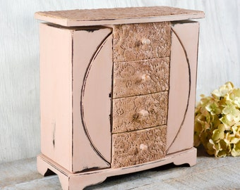 Jewelry organizer with vintage lace, jewelry box, shabby chic,  dusty pink, gift for her