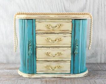 Shabby chic Jewelry box, jewelry organizer, hand painted distressed light turquoise and creamy ivory chalk paint,  beach decor