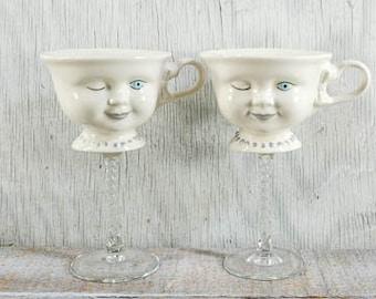 Vintage Bailey cups, Baileys winky cups, tea cup wine glass, teaup wine glass, vintage tea cups, repurposed, upcycled