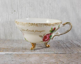 Vintage footed teacup without matching saucer, the Lord's prayer