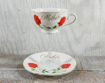 Tea cup wine glass, teacup wine glass, gift for mom, mothers wine glass, unique wine glass, cottage chic, repurposed, upcycled