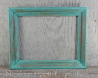 Wood picture frame, distressed light turquoise, 12x16,  wall frame, upcycled, shabby chic