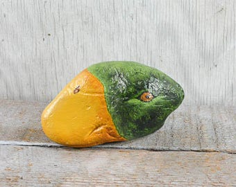 Hand painted rock, duck rock art, paperweight collectible