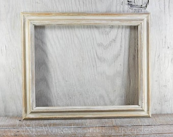 Wood picture frame, distressed white, 14x18,  wall frame, upcycled, shabby chic