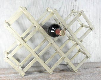 Painted, Distressed folding wine rack, wood wine rack, rustic wine rack, accordion style,  upcycled
