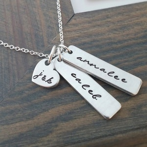 Sterling Silver Hand Stamped Name Charms Ria Designs E Custom Family Necklace New Baby Gift Couples Jewelry