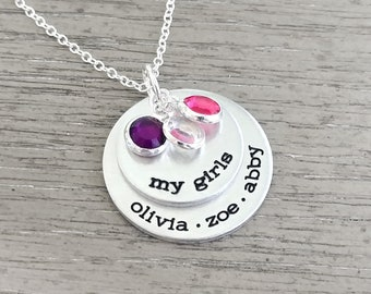 0069184f2b44d Mom necklace with kids names and birthstone | Etsy