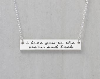 I Love You To The Moon And Back Necklace, Love Necklace, Gift For Her, Gift For Wife, Personalized Bar Necklace, Love Script Necklace