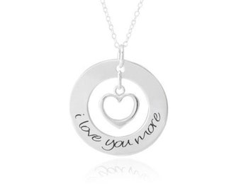 e1f581a73 Anniversary Necklace / I Love You More Necklace - Sterling Silver  Anniversary Gift - love necklace - For couples, girlfriend, wife, daughter