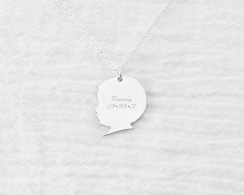 Silhouette Necklace  Baby Silhouette  Child Silhouette  image 0
