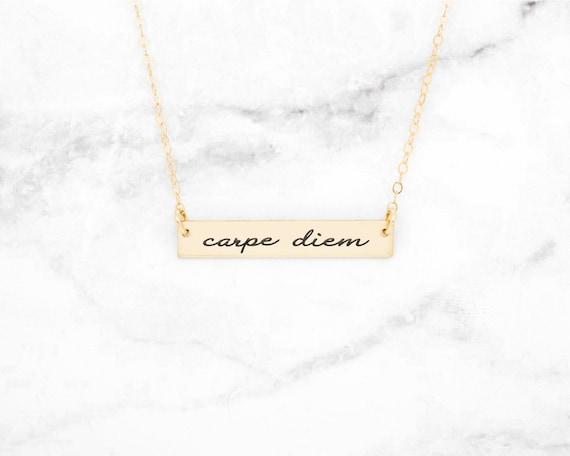 Seize the Day necklace inspiration jewelry empowerment jewelry key ring key chain key fob Carpe Diem pendant Carpe Diem necklace