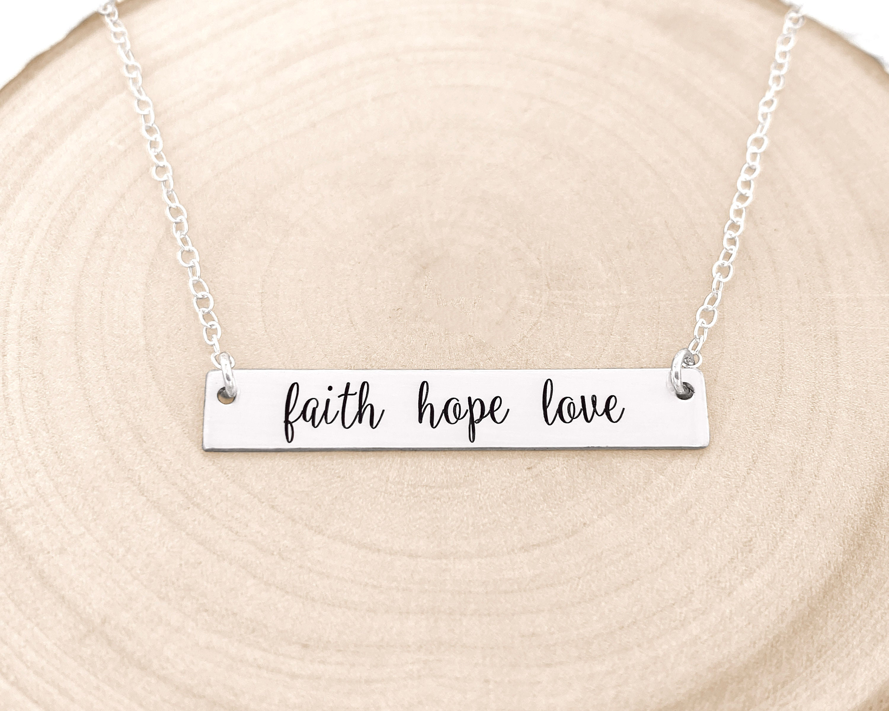 faith hope love custom Engraved Pendant Charm with Necklace Keychain Jewelry or Bags