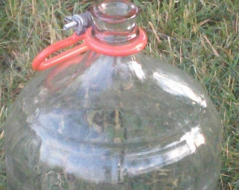 Vintage Heavy Ribbed Glass 5 Gallon Water Bottle Jug Carboy Wine Making Storage Wedding Decor