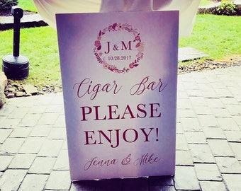 Printable Wedding Cigar Bar Sign, Monogramed Cigar Bar Sign, Cigar Bar Sign for Your Wedding or Any Special Event