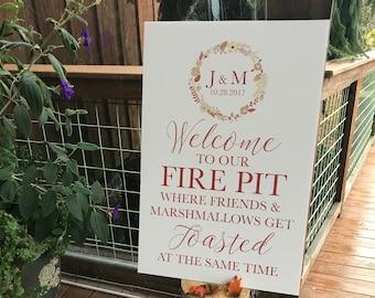 Printable Wedding Fire Pit Sign, Monogramed Fire Pit Sign, Fire Pit Sign for Your Wedding or Any Special Event