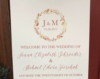 Printable Wedding Welcome Sign, Monogramed Welcome Sign, Welcome Sign for Your Wedding or Any Special Event