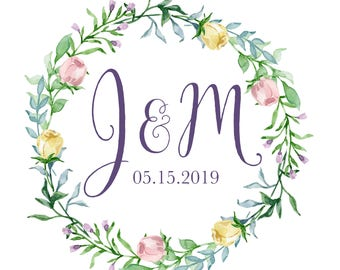 Custom Designed Digital Wedding Monogram Design, Floral Logo, Wedding Gobo, Spring Watercolor Monogram Printable, Logo Design for your Event