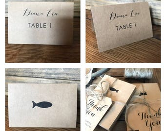 Rustic Name Cards Wedding Place Cards with Meal Choice on Back Wedding Escort Cards Bi-fold Tent Name Cards for Any Special Event