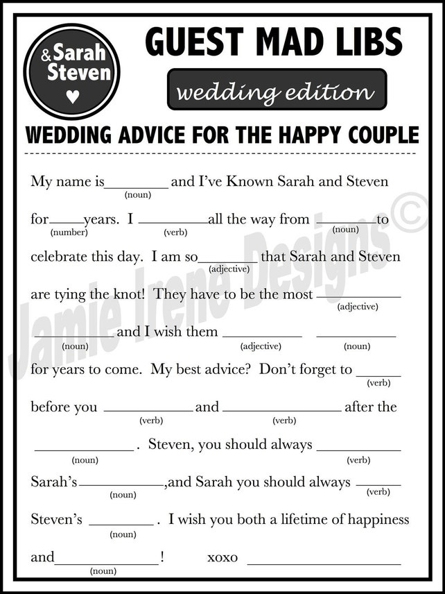 graphic about Printable Wedding Mad Libs named Printable Marriage ceremony Outrageous Libs A Pleasurable Visitor E-book Possibility