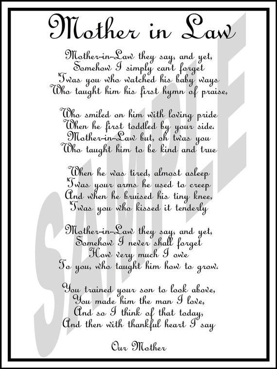 Wedding Day Mother In Law Poem Diy Printable