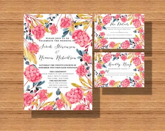 Printable Wedding Invitation Suite, Wedding Invite Set , The Floral Wedding Suite, Wedding Invitations with The Details and RSVP Card