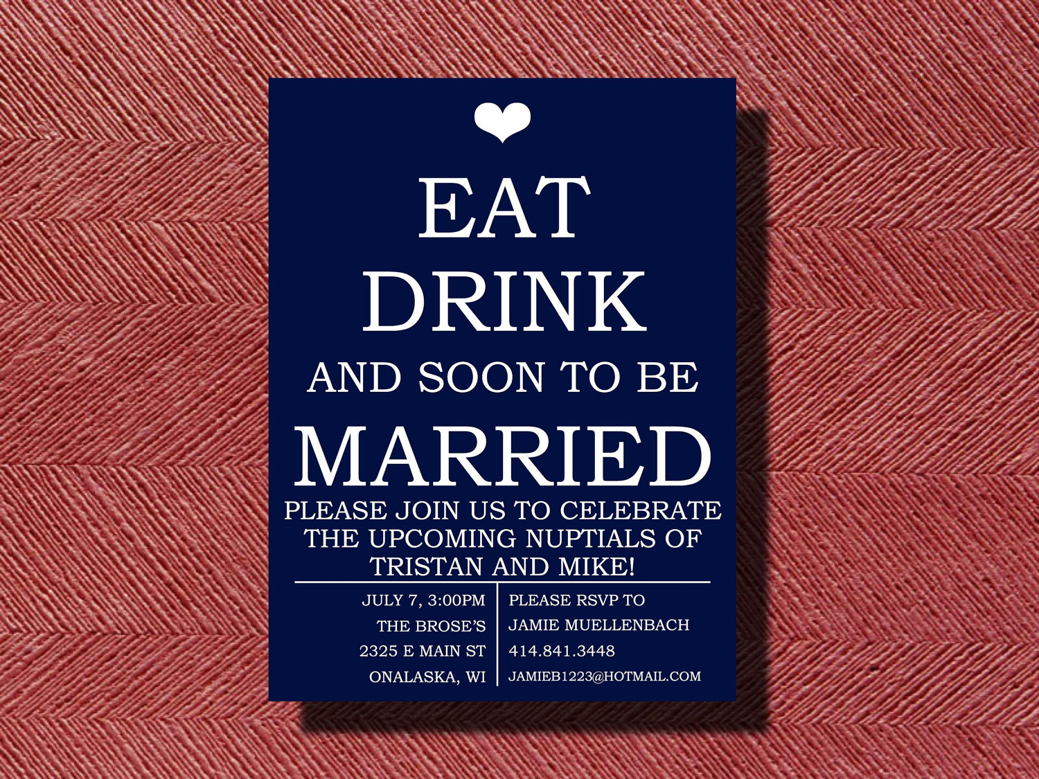 Engagement Party Invitation Eat Drink and be Married | Etsy