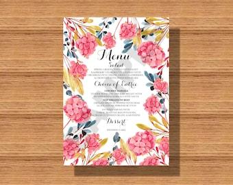 Wedding Reception Floral Dinner Menu, Wedding Dinner Menus, Elegant and Bright Dinner Menus for your Special Event