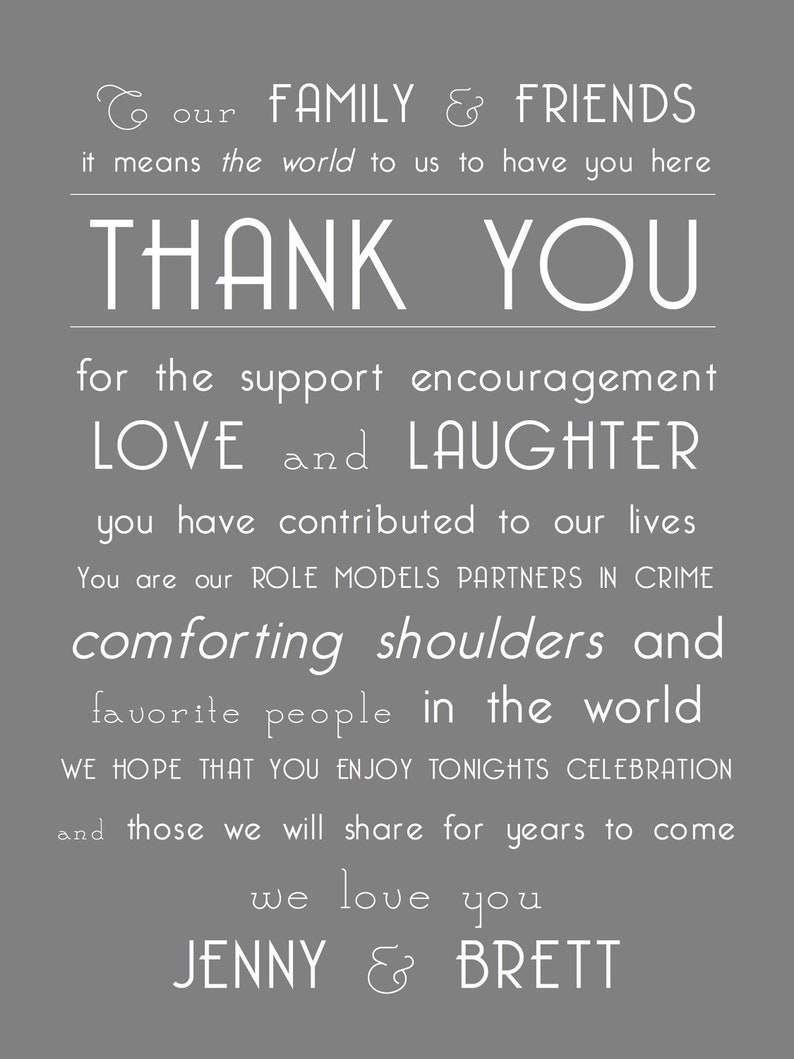 Special Thank You for Guests on Your Wedding Day or any Special Event Wedding Thank You Note Wedding Day Thank You Note to Guests
