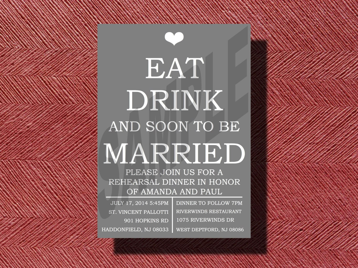 Eat Drink and Soon To Be Married Rehearsal Dinner Invitation | Etsy