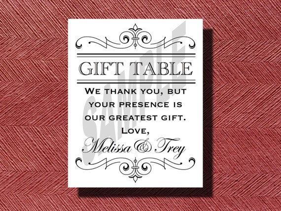 Printable Wedding Reception Gift Table Sign Etsy
