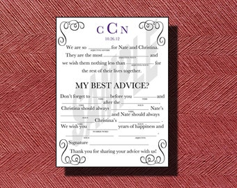 Unique Wedding Guest Book, Wedding Mad Libs, Wedding Ad Libs, Printable Mad Libs for a Wedding, Bridal Shower, Rehearsal Dinner or any Event