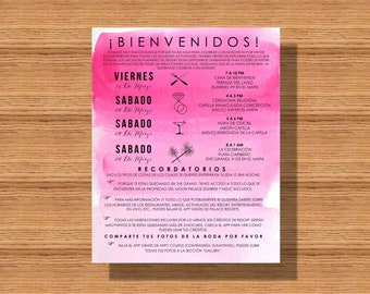 Watercolor Wedding Welcome Weekend Itinerary In Spanish or English, Wedding Schedule, Destination Wedding Weekend Itinerary, Event Itinerary